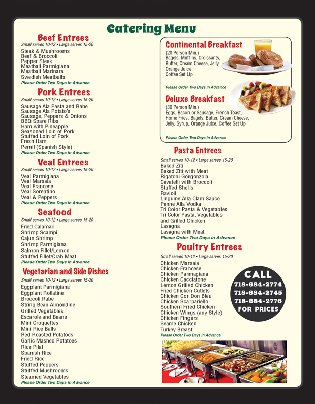 Monte Grab and Go Market Catering Menu